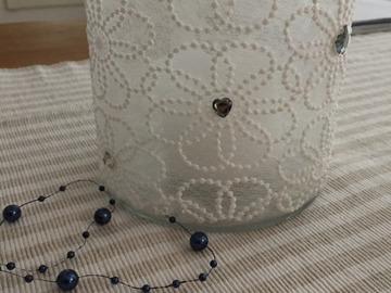 Ilmoitus: Finnmarin lasiset kynttilälyhdyt/helminauhaa/kiviä