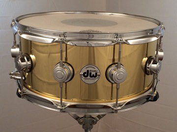 Selling with online payment: DW Drum Workshop 6.5x14 cast brass snare/black badge/rare