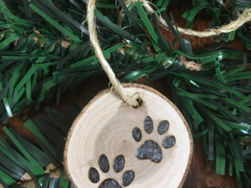 Selling: Paw Print Small Cherry Wood Ornament