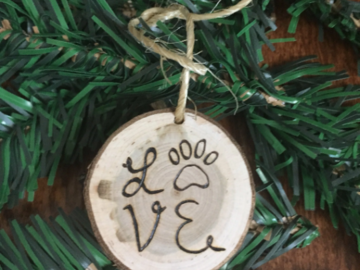 Selling: Love Paw Small Cherry Wood Christmas Ornament