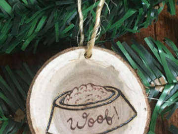 Selling: Dog Bowl Small Wood Christmas Ornament