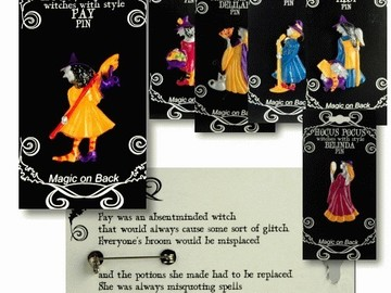 Buy Now: 425 -Halloween Hocus Pocus Witch Pins-- $ .40 pcs!!
