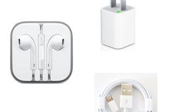 Bulk Lot: 300 X iPhone Wall Charger, USB Cables & Headphones