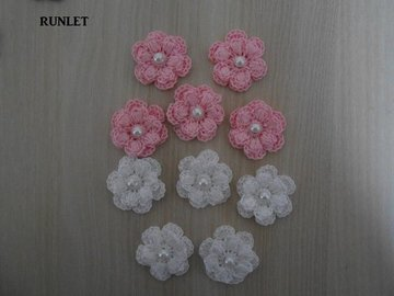 Vente au détail: fleurs doubles roses blanches au crochet/fleurs au crochet,/