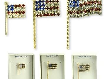 Liquidation/Wholesale Lot: 36 Flag Swarovski Rhinestone Pins-- $2.50 each!
