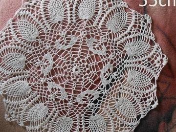 Vente au détail: Napperon blanc 55cm au crochet