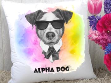 "Selling: Alpha Dog"" Art Pillow"