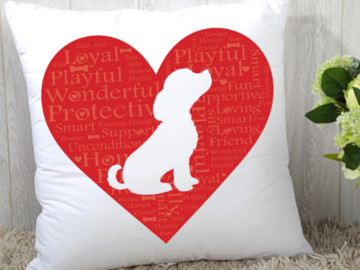"""Selling: """"I Heart My Dog"""" Statement Pillow"""