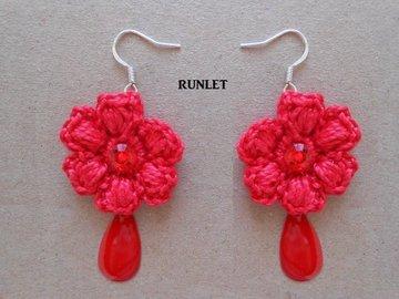 Sale retail: Boucles d'oreille fleur au crochet,bijoux au crochet