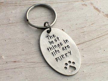 Selling: Hand Stamped Keychain Best Things are Furry