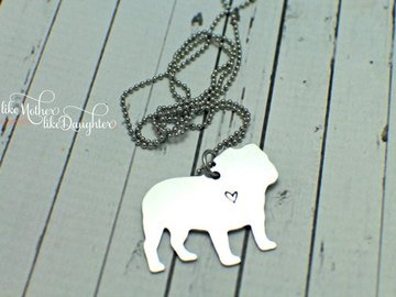 Selling: English Bulldog Love Hand Stamped Necklace