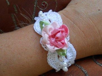 Vente au détail: bijoux au crochet,bracelet au crochet,bracelet,bracelet fleu