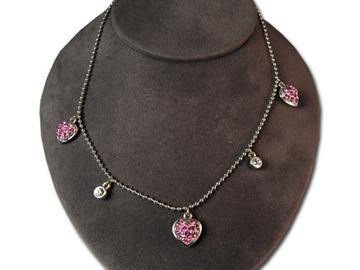 Liquidation/Wholesale Lot: 50--Sweetheart  Necklace with Swarovski Rhinestones -boxed