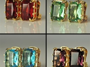 Liquidation/Wholesale Lot: 50 prs- Swarovski  Octagon Rhinestone Clip Earrings $2.00 pr