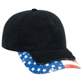 Bulk Lot: OTTO US Flag Design Distressed Visor 5 Panel Hat (144 Hats)