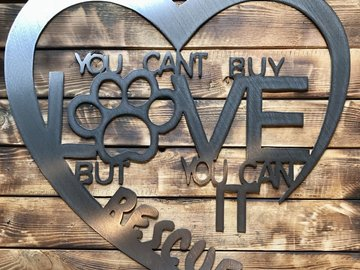 "Selling: 24"" Rescue Love Sign - Shiny Steel"