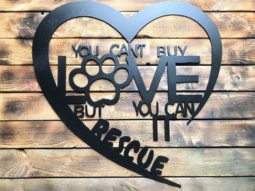 "Selling: 24"" Rescue Love Sign - Black"