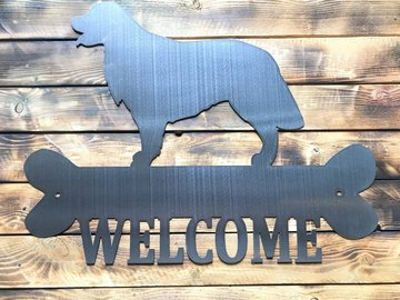 Selling: Golden Retriever Welcome Sign - Shiny Steel