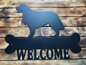 Selling: Golden Retriever Welcome Sign  - Black