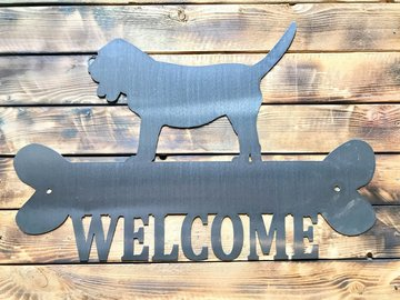 Selling: Bassett Hound Welcome Sign - Shiny Steel