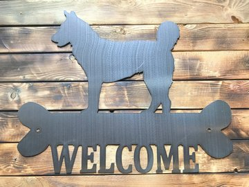 Selling: Husky Welcome Sign - Shiny Steel