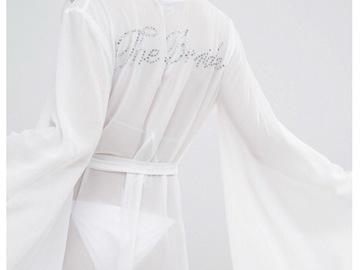 Ilmoitus: Valkoinen The Bride strassikirjailtu kimono