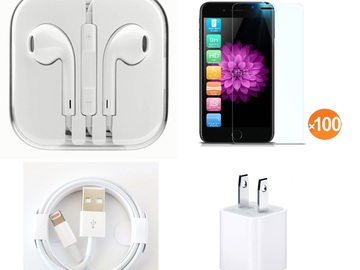 Liquidation Lot: 400 X Wall Charger, USB Cables , Headphones & Tempered Glass