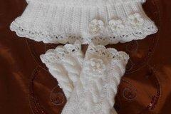 Vente au détail: ensemble col et mitaines laine blanche ,cadeaux pour les fem
