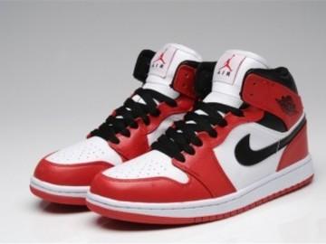 Vente avec paiement en ligne: Homme Nike Air Jordan 1 Noir/Blanc/Rouge