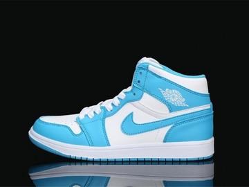 Vente avec paiement en ligne: Femme/Homme Nike Air Jordan 1 Blanc/Bleu