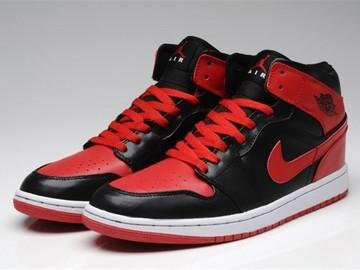 Vente avec paiement en ligne: Femme/Homme Nike Air Jordan 1 Rouge/Noir