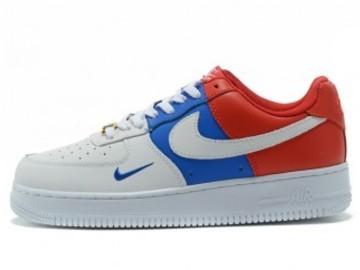 Vente avec paiement en ligne: Femme/Homme Nike Air Force 1 Blanc/Bleu/Rouge