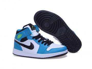 Vente avec paiement en ligne: Femme Nike Air Jordan 1 Bleu/ Blanc/ Noir