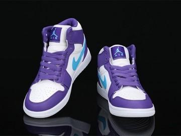 Vente avec paiement en ligne: Femme/Homme Nike Air Jordan 1 Violet/Blanc