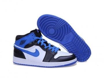 Vente avec paiement en ligne: Femme/Homme Nike Air Jordan 1 Blanc/Bleu/Noir