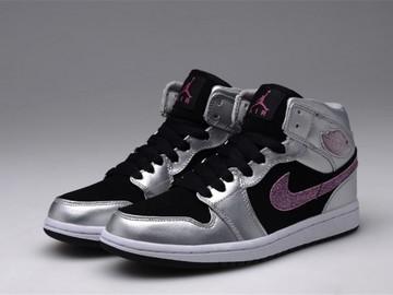 Vente avec paiement en ligne: Femme Nike Air Jordan 1 Noir/Blanc