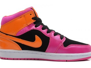 Vente avec paiement en ligne: Femme Nike Air Jordan 1 Rouge/Noir/Orange