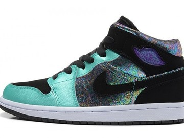 Vente avec paiement en ligne: Femme Nike Air Jordan 1 Noir/Vert