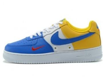 Vente avec paiement en ligne: Homme Nike Air Force 1 Bleu/Blanc/Jaune