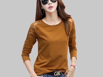 Vente avec paiement en ligne: épaule t-shirt femmes tops o-cou t chemises femmes