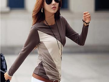 Vente avec paiement en ligne: T-shirt Femme T-shirt Femmes Coton À Manches Longues