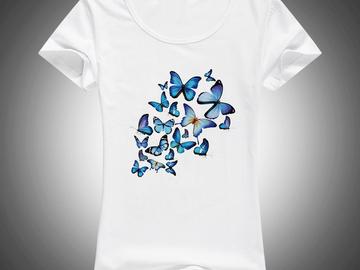 Vente avec paiement en ligne: Papillons Imprimé coton t-shirt Femmes T-shirt