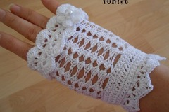 Vente au détail: Mitaines dentelle femme en coton au crochet blanc