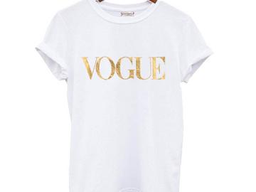 Vente avec paiement en ligne: Femme d'été VOGUE t shirt femmes casual lady top t-shirts