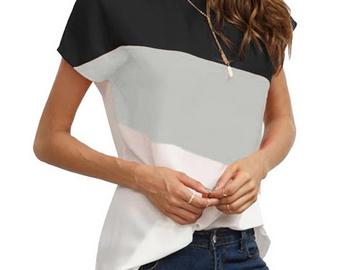 Vente avec paiement en ligne: Casual Manches Courtes O-cou T-shirt Femmes D'été Mode