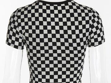 Vente avec paiement en ligne: chemises Femmes 2018 D'été Plaid Tee Shirt Femme Sexy À Manc