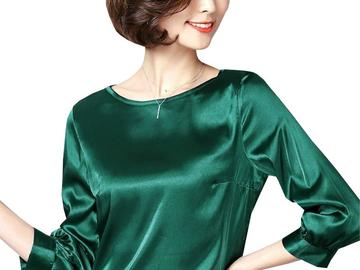 Vente avec paiement en ligne: Femmes Satin Soyeux Chemise Vintage 3/4 Manches Brillant