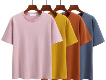 Vente avec paiement en ligne: Jielur 7 Couleurs Solide Couleur Confortable Joker T-shirt
