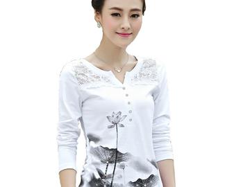 Vente avec paiement en ligne:  imprimer t shirt femmes t-shirt coton dentelle t chemise