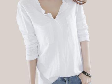 Vente avec paiement en ligne: Femmes T-shirt 2018 Automne femme t-shirt De Mode Sexy V